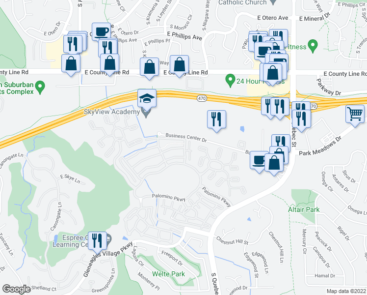 map of restaurants, bars, coffee shops, grocery stores, and more near 8558 Gold Peak Lane in Littleton