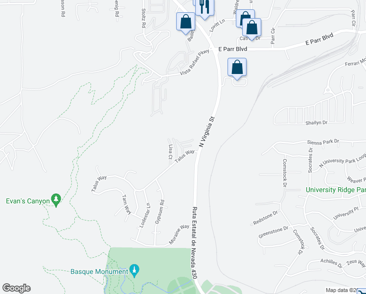 map of restaurants, bars, coffee shops, grocery stores, and more near Covington Way in Reno