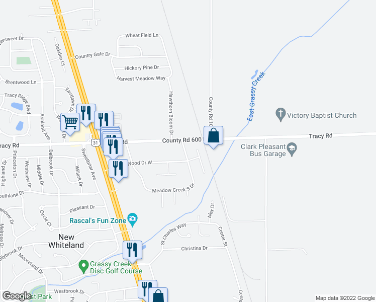map of restaurants, bars, coffee shops, grocery stores, and more near 29 Meadow Creek East Boulevard in Whiteland