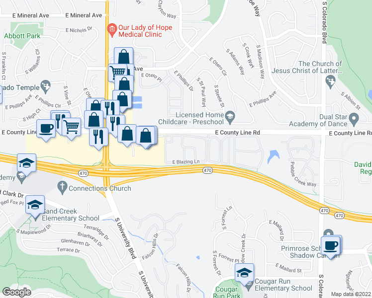 map of restaurants, bars, coffee shops, grocery stores, and more near 8305 South Harvest Lane in Littleton