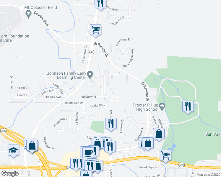 map of restaurants, bars, coffee shops, grocery stores, and more near 4005 Moorpark Court in Sun Valley