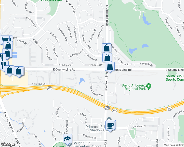 map of restaurants, bars, coffee shops, grocery stores, and more near in Highlands Ranch