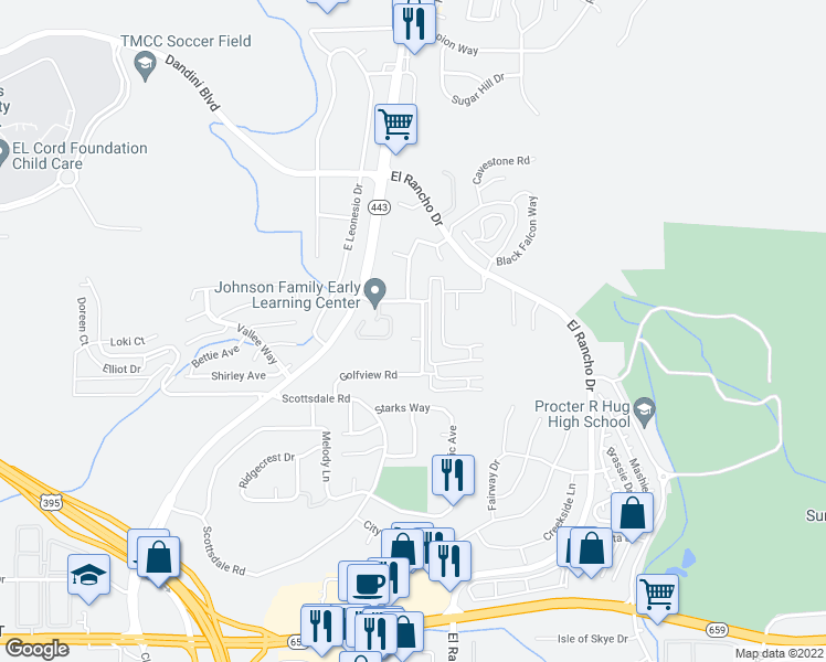 map of restaurants, bars, coffee shops, grocery stores, and more near 3937 Clear Acre Lane in Reno