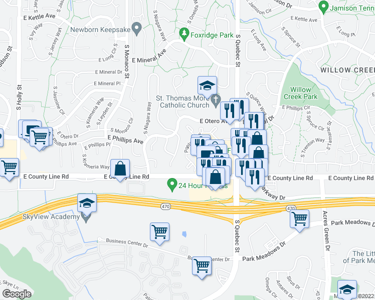 map of restaurants, bars, coffee shops, grocery stores, and more near 8195 South Poplar Way in Centennial