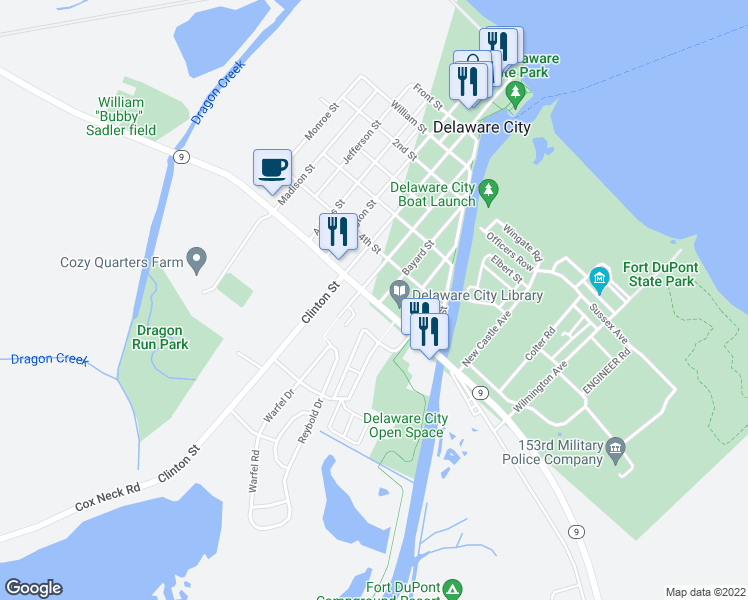 map of restaurants, bars, coffee shops, grocery stores, and more near 3B Hamilton Place in Delaware City
