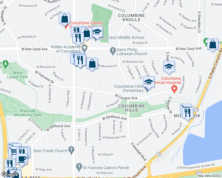 map of restaurants, bars, coffee shops, grocery stores, and more near 6423 West Canyon Avenue in Littleton