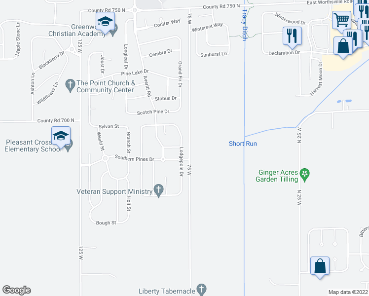 map of restaurants, bars, coffee shops, grocery stores, and more near 2997 Lodgepole Drive in Whiteland