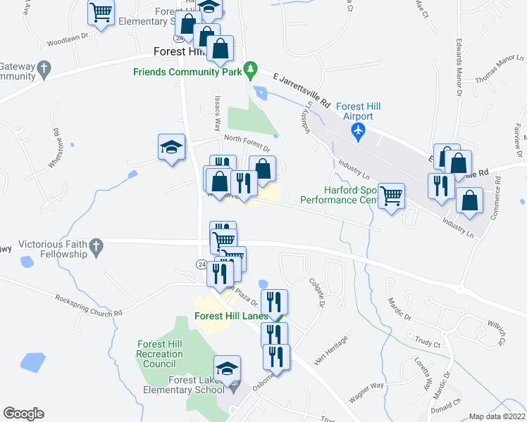 map of restaurants, bars, coffee shops, grocery stores, and more near 7 Newport Drive in Forest Hill