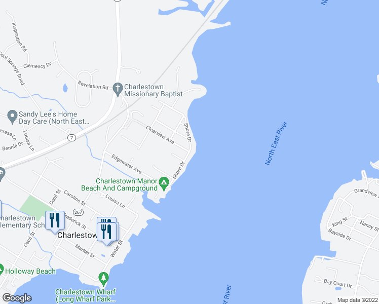 map of restaurants, bars, coffee shops, grocery stores, and more near 63 Shore Drive in North East