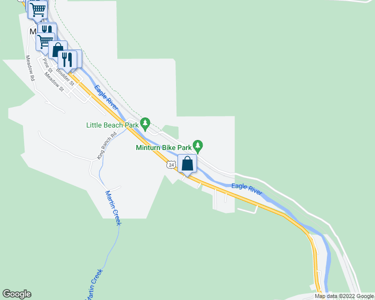 map of restaurants, bars, coffee shops, grocery stores, and more near 801 Ed6 in Minturn