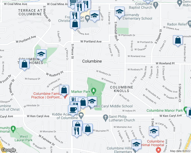 map of restaurants, bars, coffee shops, grocery stores, and more near West Fremont Drive in Littleton