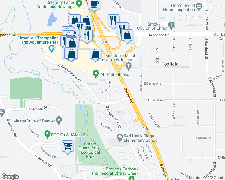 map of restaurants, bars, coffee shops, grocery stores, and more near 16045 East Easter Circle in Aurora