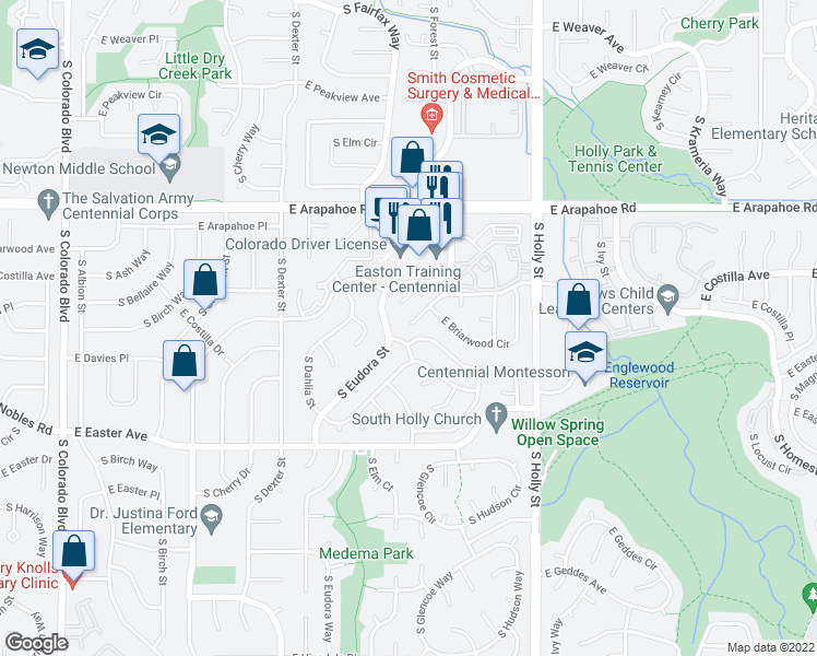 map of restaurants, bars, coffee shops, grocery stores, and more near in Centennial