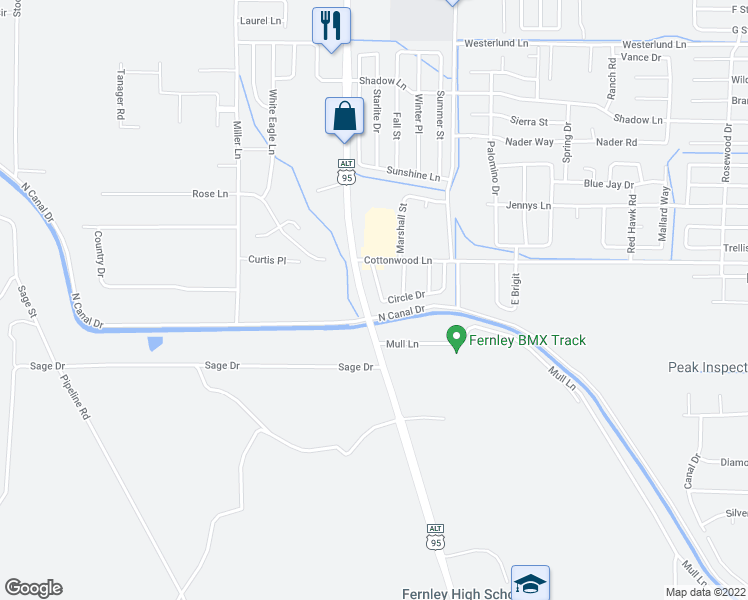 map of restaurants, bars, coffee shops, grocery stores, and more near 210 Circle Drive in Fernley