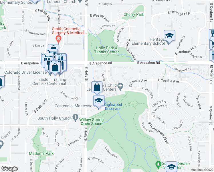 map of restaurants, bars, coffee shops, grocery stores, and more near 6822-6830 South Ivy Way in Centennial