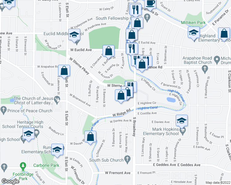map of restaurants, bars, coffee shops, grocery stores, and more near 200 West Sterne Parkway in Littleton