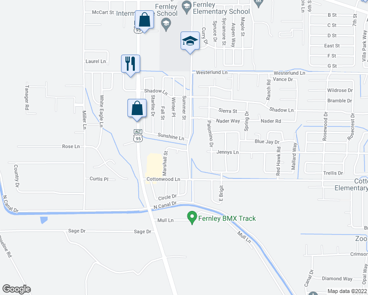 map of restaurants, bars, coffee shops, grocery stores, and more near 98 Rachel Street in Fernley