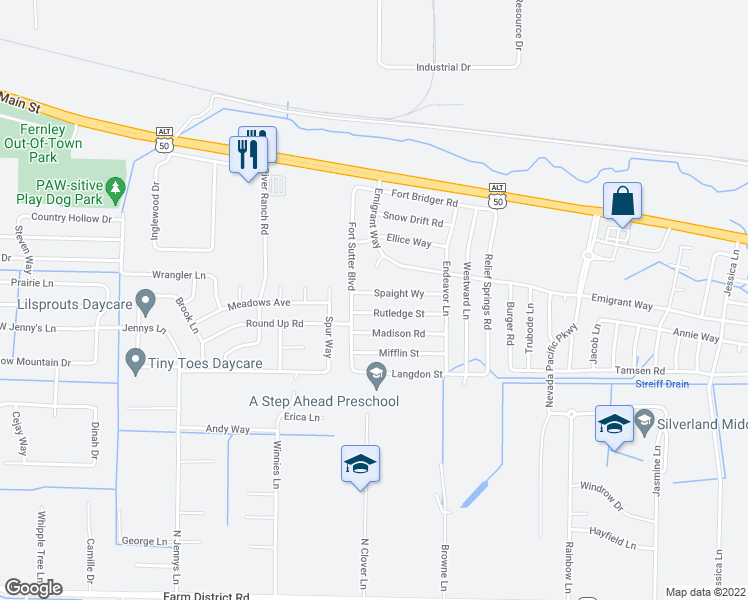 map of restaurants, bars, coffee shops, grocery stores, and more near 4525 Spaight Way in Fernley