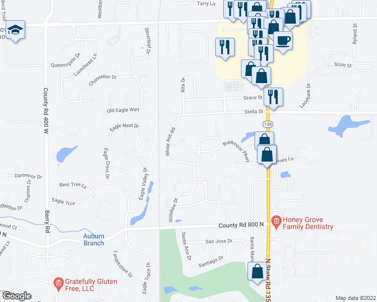 map of restaurants, bars, coffee shops, grocery stores, and more near 3398 Buckmoor Parkway in Greenwood