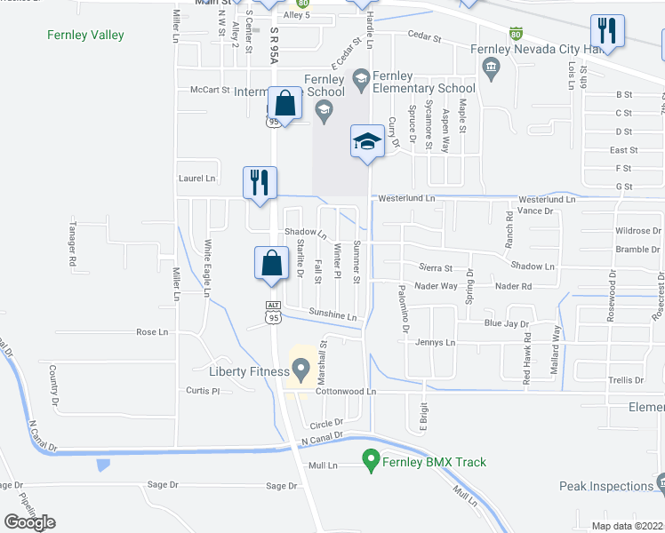 map of restaurants, bars, coffee shops, grocery stores, and more near 627 Winter Place in Fernley