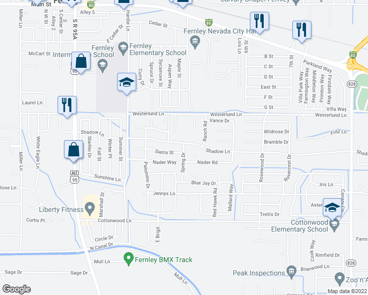map of restaurants, bars, coffee shops, grocery stores, and more near 532 Shadow Lane in Fernley