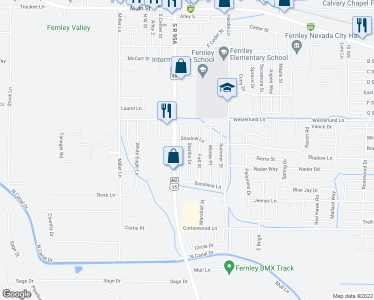 map of restaurants, bars, coffee shops, grocery stores, and more near 670 Starlite Drive in Fernley