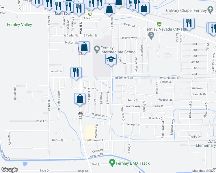 map of restaurants, bars, coffee shops, grocery stores, and more near 536 Summer Southeast in Fernley