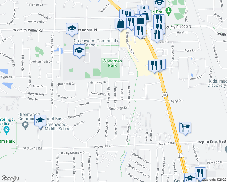 map of restaurants, bars, coffee shops, grocery stores, and more near 1234 Freemont Lane in Greenwood