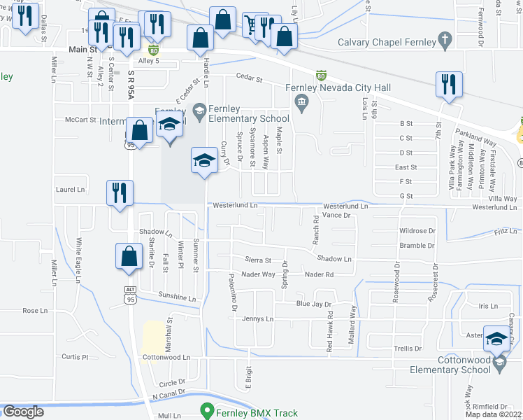 map of restaurants, bars, coffee shops, grocery stores, and more near 410 Suzanne Court in Fernley