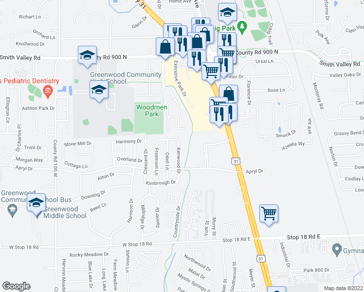 map of restaurants, bars, coffee shops, grocery stores, and more near 1181 Kenwood Drive in Greenwood