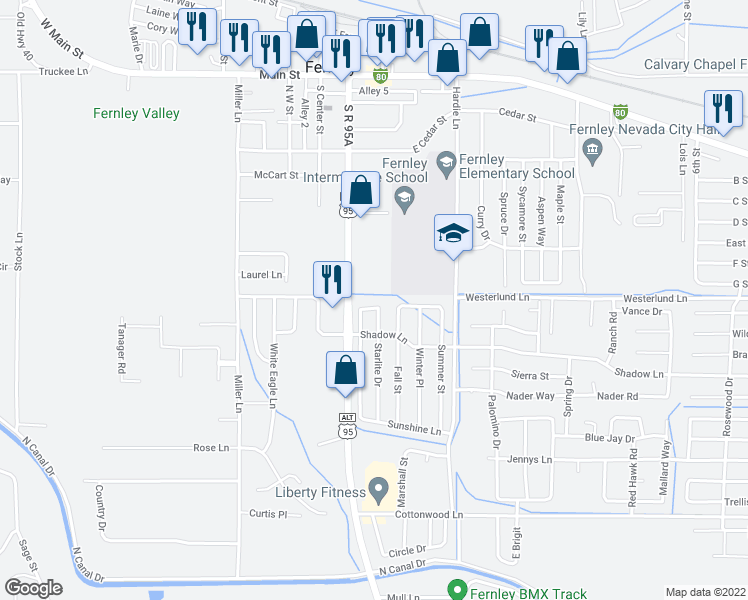 map of restaurants, bars, coffee shops, grocery stores, and more near 60 Cloud Drive in Fernley