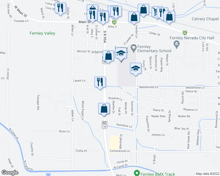 map of restaurants, bars, coffee shops, grocery stores, and more near 40 Cloud Drive in Fernley