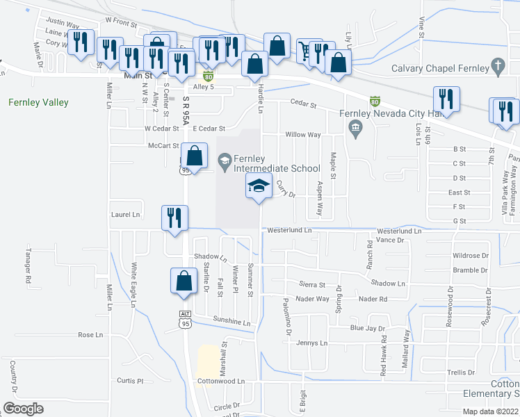 map of restaurants, bars, coffee shops, grocery stores, and more near 515 Hardie Lane in Fernley