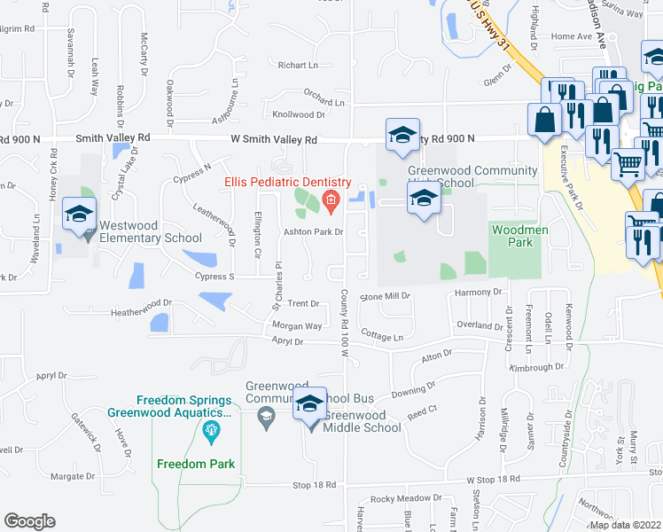 map of restaurants, bars, coffee shops, grocery stores, and more near 818 Jared Drive in Greenwood