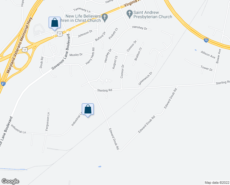 map of restaurants, bars, coffee shops, grocery stores, and more near 16733 Sterling Road in Williamsport
