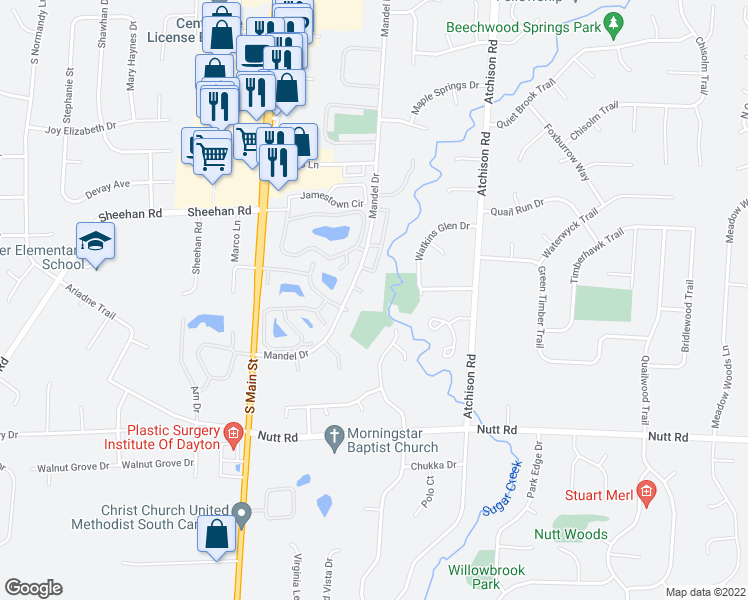 map of restaurants, bars, coffee shops, grocery stores, and more near 9517 Centerbrook Court in Dayton