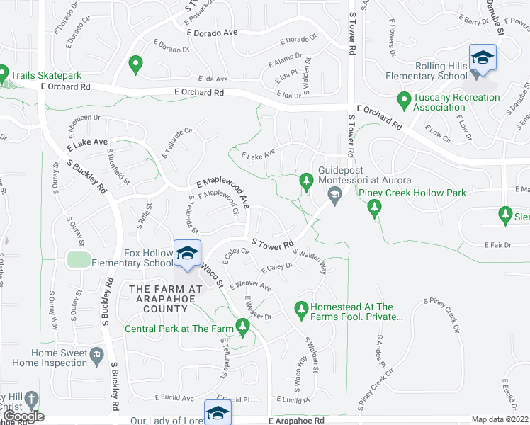 map of restaurants, bars, coffee shops, grocery stores, and more near 6144 South Ventura Court in Aurora