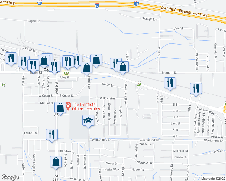 map of restaurants, bars, coffee shops, grocery stores, and more near 425 East Cedar Street in Fernley
