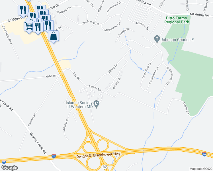 map of restaurants, bars, coffee shops, grocery stores, and more near 900 Queen Annes Court in Hagerstown