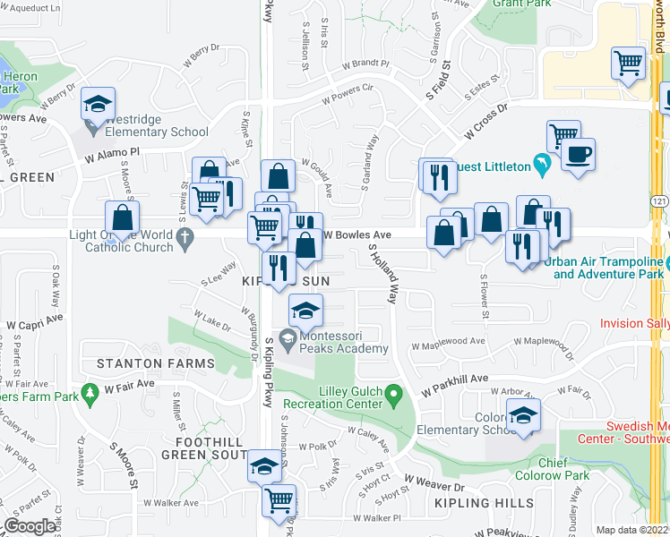 map of restaurants, bars, coffee shops, grocery stores, and more near 5920 South Jellison Street in Littleton