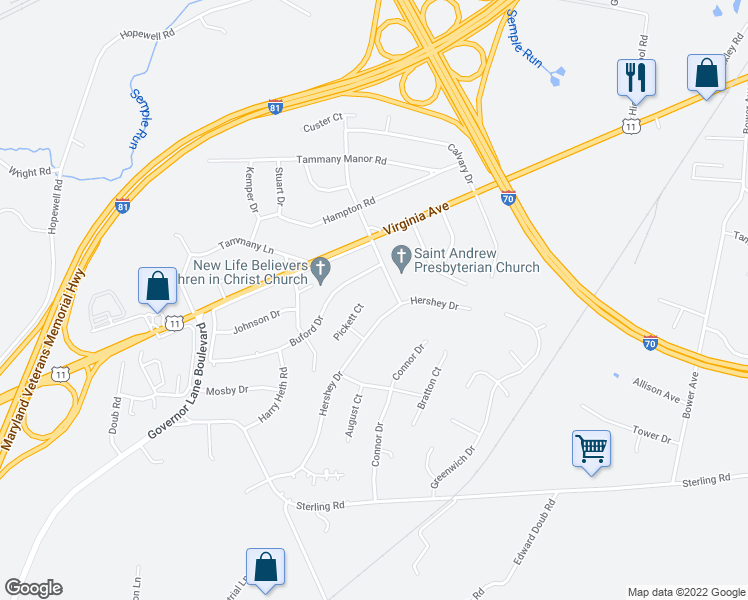 map of restaurants, bars, coffee shops, grocery stores, and more near 10723 Pickett Court in Williamsport