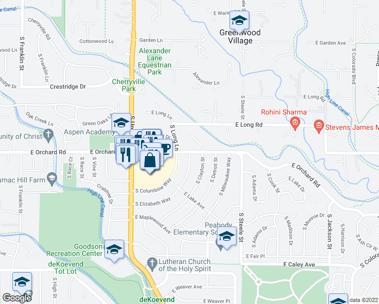 map of restaurants, bars, coffee shops, grocery stores, and more near East Orchard Road in Littleton