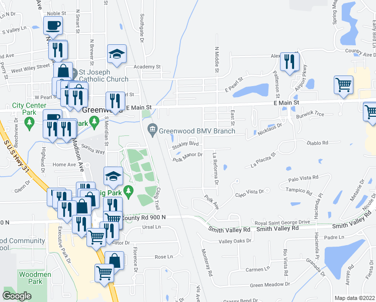 map of restaurants, bars, coffee shops, grocery stores, and more near 464 Polk Manor Drive in Greenwood