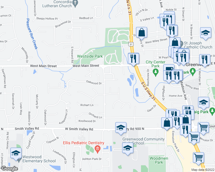 map of restaurants, bars, coffee shops, grocery stores, and more near 334 Oak Meadows Court in Greenwood