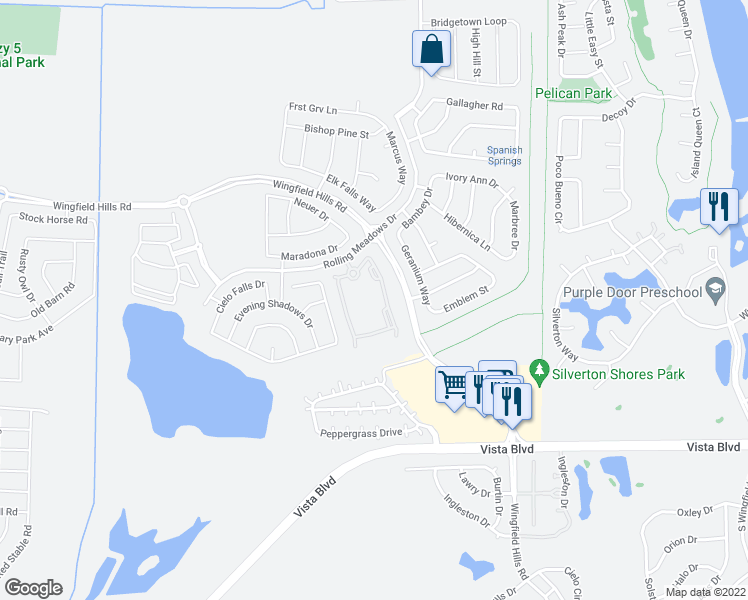 map of restaurants, bars, coffee shops, grocery stores, and more near 6717 Rolling Meadows Drive in Sparks