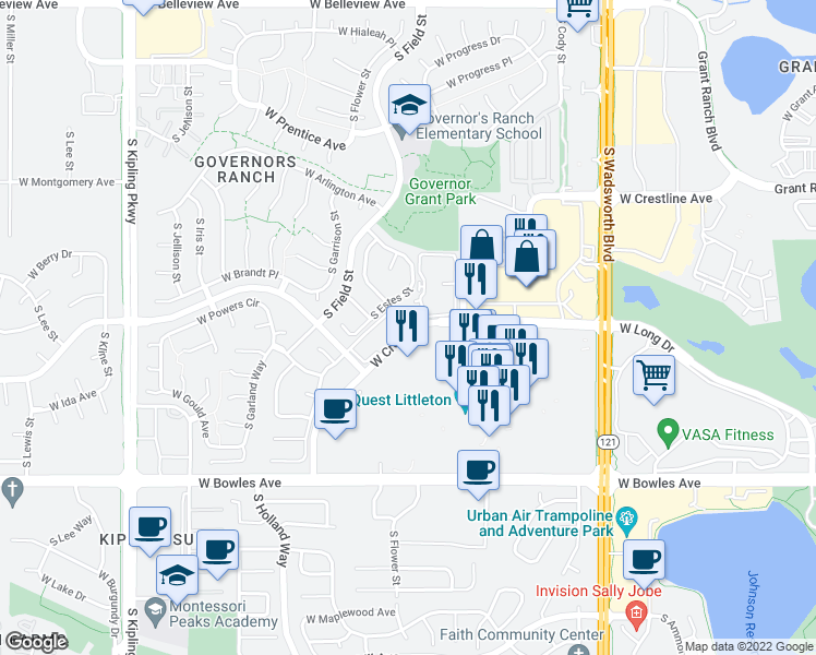 map of restaurants, bars, coffee shops, grocery stores, and more near 9107 West Cross Drive in Littleton