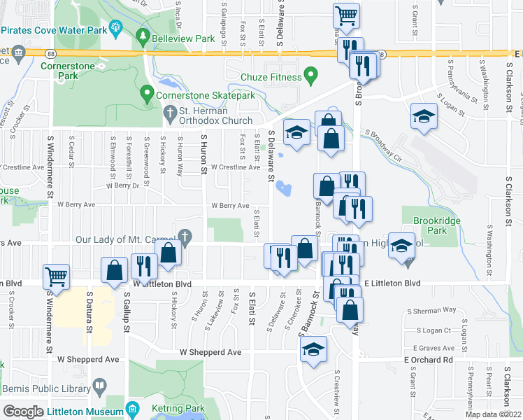 map of restaurants, bars, coffee shops, grocery stores, and more near 5510 South Elati Street in Littleton