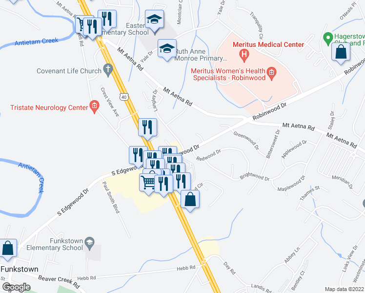 map of restaurants, bars, coffee shops, grocery stores, and more near 1680 Langley Drive in Hagerstown