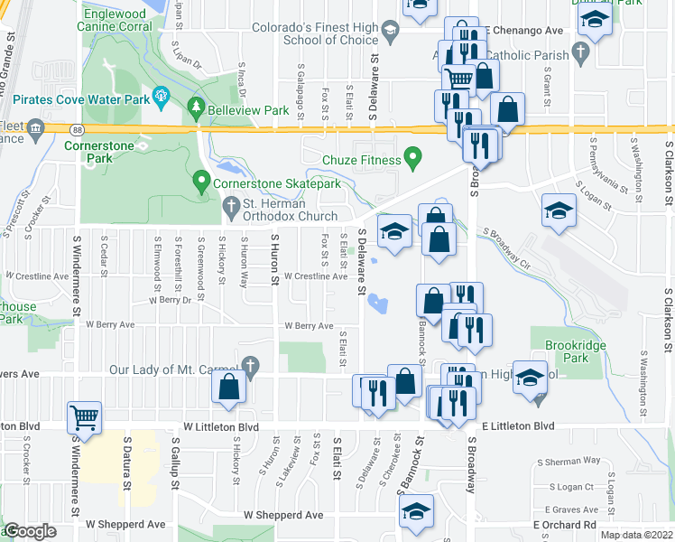 map of restaurants, bars, coffee shops, grocery stores, and more near 5399 South Elati Street in Littleton