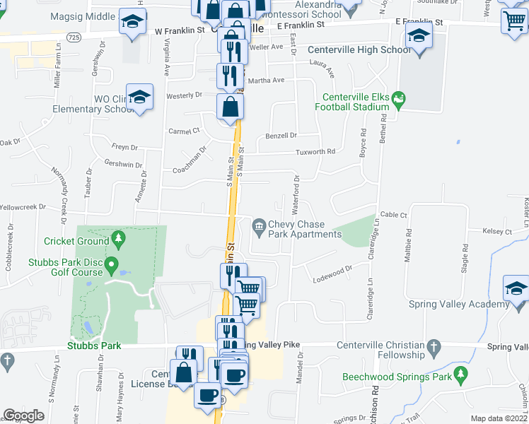 map of restaurants, bars, coffee shops, grocery stores, and more near 41 Loganwood Drive in Dayton